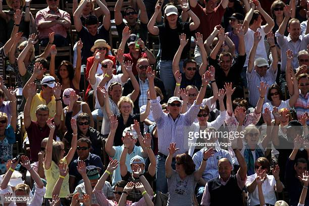Fans celebrate during day seven of the ARAG World Team Cup at the Rochusclub on May 22 2010 in Duesseldorf Germany