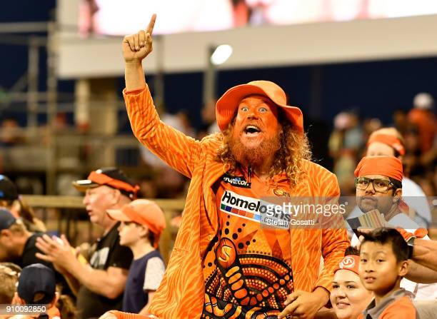Fans celebrate during the Big Bash League match between the Perth Scorchers and the Adelaide Strikers at WACA on January 25 2018 in Perth Australia