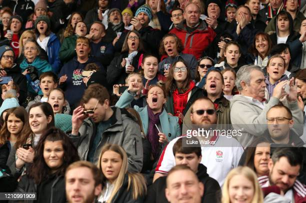 Fans celebrate during the Women's Six Nations match between England and Wales at Twickenham Stoop on March 07, 2020 in London, England.