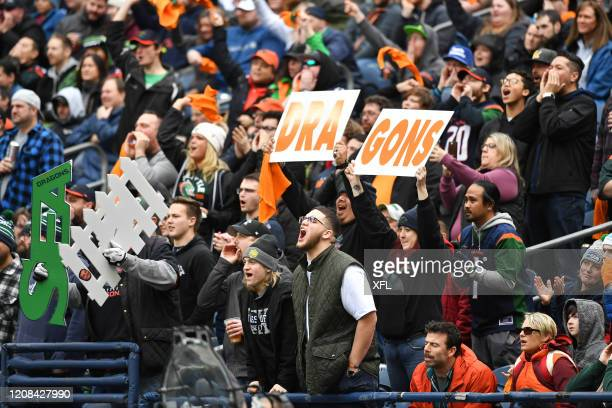 Fans celebrate during the XFL game between the Dallas Renegades and the Seattle Dragons at CenturyLink Field on February 22, 2020 in Seattle,...