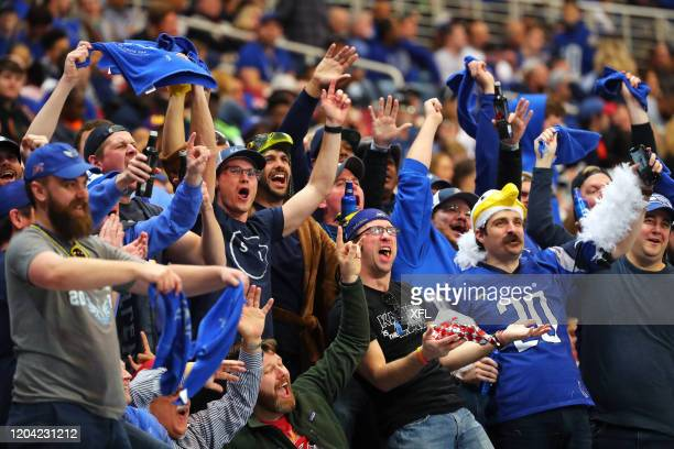 Fans celebrate during the XFL game between the Seattle Dragons and the St Louis BattleHawks at The Dome at America's Center on February 29 2020 in St...