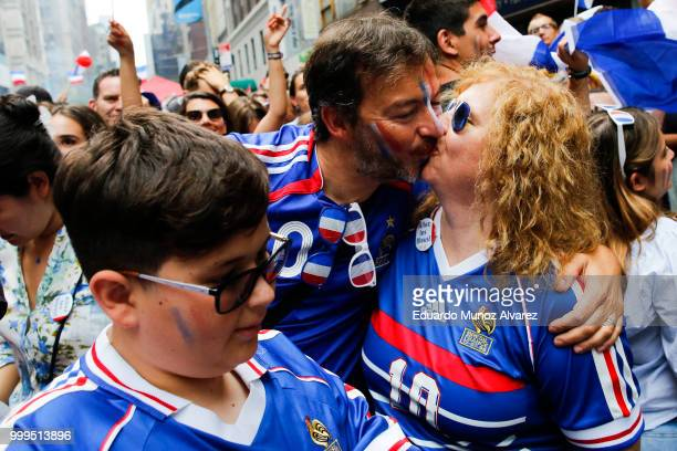 Fans celebrate France winning the World Cup final against Croatia during a watch party on July 15 2018 in New York City France beat Croatia 42 to win...