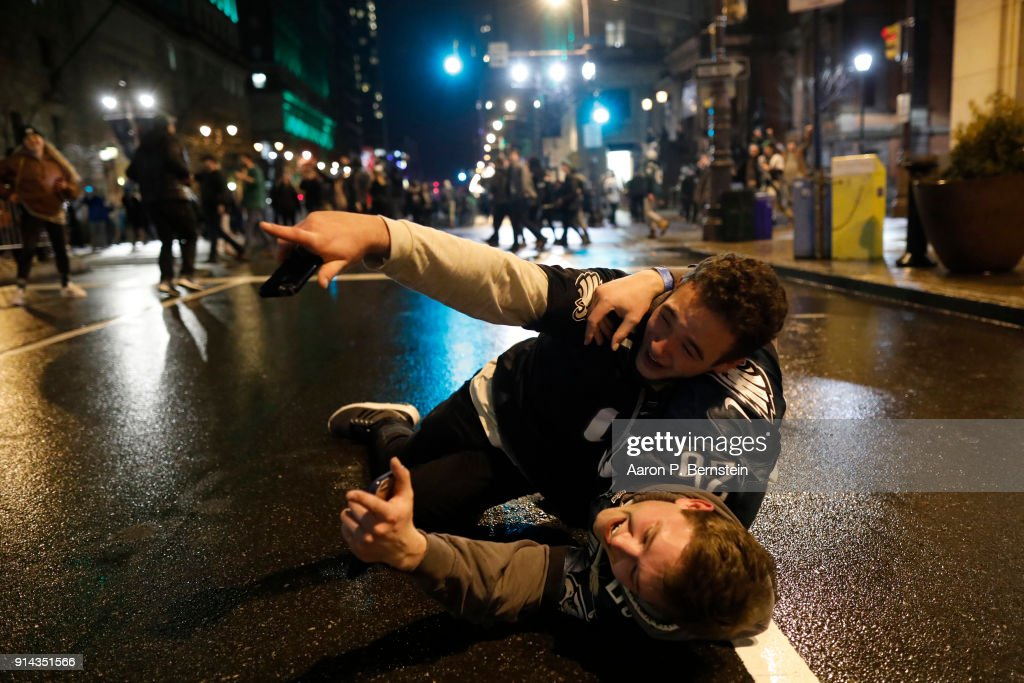 Fans celebrate in Center City after the Philadelphia Eagles defeated the New England Patriots to win the Super Bowl on February 4, 2018 in Philadelphia, Pennsylvania.