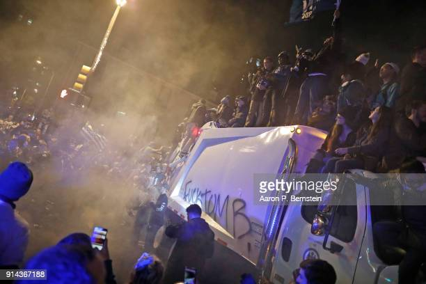 Fans celebrate in Center City after the Philadelphia Eagles defeated the New England Patriots to win the Super Bowl on February 5 2018 in...