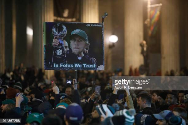Fans celebrate in Center City after the Philadelphia Eagles defeated the New England Patriots to win the Super Bowl on February 4 2018 in...