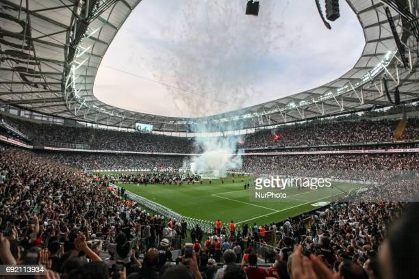 Fans celebrate in the streets of Istanbul Turkey after soccer team Besiktas became Super Lig champions on June 3 2017 Besiktas beat Osmanlispor 40...