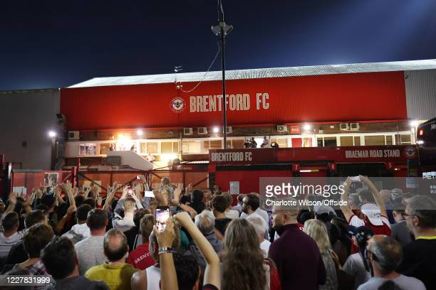 Fans celebrate in the streets outside the stadium after the Sky Bet Championship Play Off Semi-final 2nd Leg match between Brentford and Swansea City...