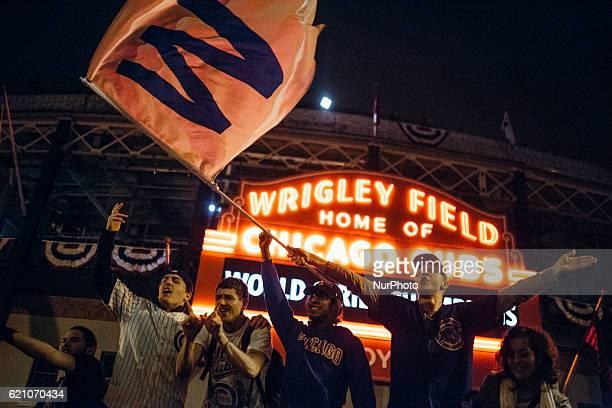 Fans celebrate outside of Wrigley Fieldin Chicago on November 2 2016