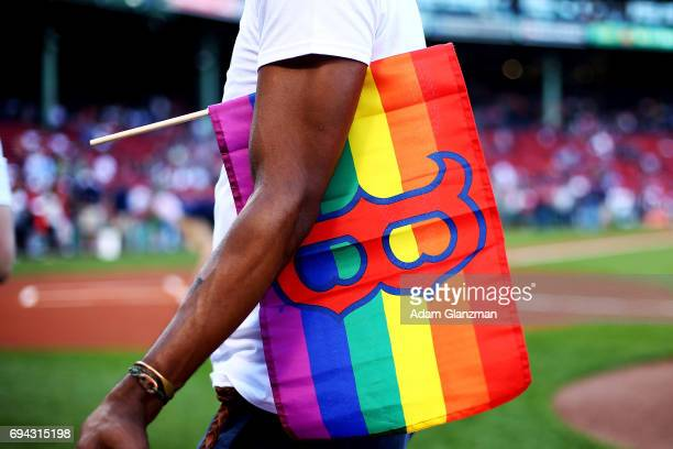 Fans celebrate Pride Night before a game between the Boston Red Sox and the Detroit Tigers at Fenway Park on June 9 2017 in Boston Massachusetts