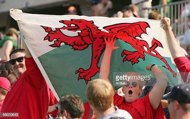 Fans celebrate the 733 Wales victory over the USA after their International test match on June 4 2005 at Rentschler Field in Hartford Connecticut