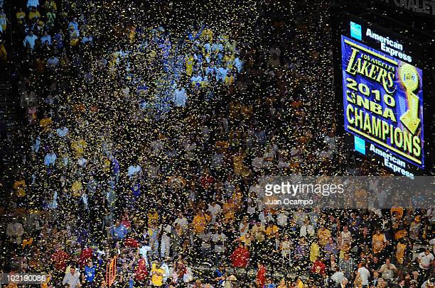 Fans celebrate the Los Angeles Lakers winning over the Boston Celtics in Game Seven of the 2010 NBA Finals on June 17, 2010 at Staples Center in Los...