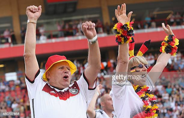 Fans celebrate the second German goal during the Germany-Portugal World Cup match at a public viewing at the Alte Foersterei FC Union stadium on June...