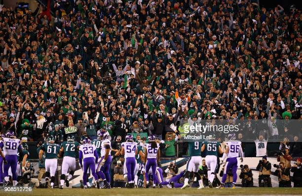 Fans celebrate the touchdown by LeGarrette Blount of the Philadelphia Eagles during the second quarter against the Minnesota Vikings in the NFC...