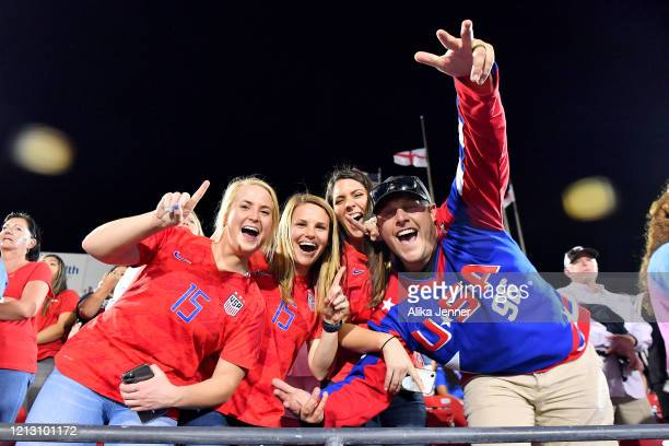 Fans celebrate the United States victory over Japan after the SheBelieves Cup match at Toyota Stadium on March 11 2020 in Frisco Texas The United...