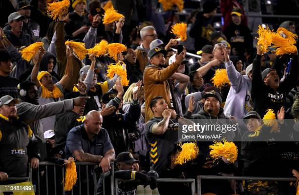 Fans celebrate while attending the Alliance of American Football game between the Salt Lake Stallions and the San Diego Fleet at SDCCU Stadium on...