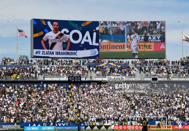 Fans celebrates after a goal by Zlatan Ibrahimovic of Los Angeles Galaxy in the second half of the game against the Los Angeles FC as at StubHub...