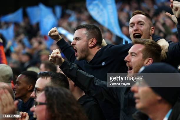 Fans celebrates during the UEFA Champions League Quarter Final second leg match between Manchester City and Tottenham Hotspur at at Etihad Stadium on...