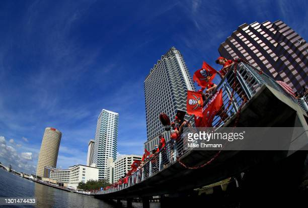 Fans celebrates the Tampa Bay Buccaneers Super Bowl LV victory during a boat parade through the city on February 10, 2021 in Tampa, Florida.