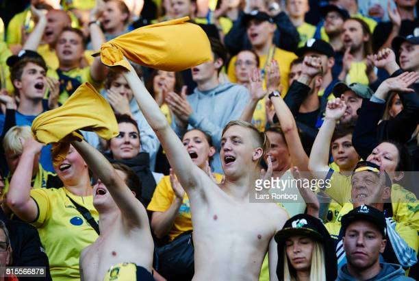 Fans celebrating after the Danish Alka Superliga match between Brondby IF and FC Midtjylland at Brondby Stadion on July 16 2017 in Brondby Denmark