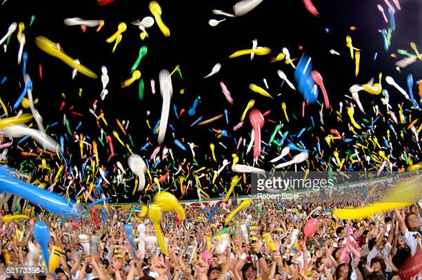 Fans Celebrating at Koshien Kyojo Baseball Stadium