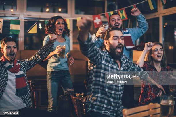 fans celebrating - football fan stock photos and pictures