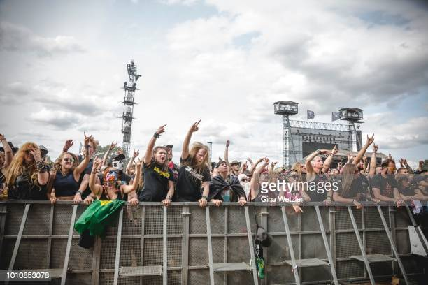 Fans celebrating the performance of the band Skindred during the Wacken Open Air festival on August 4 2018 in Wacken Germany Wacken is a village in...