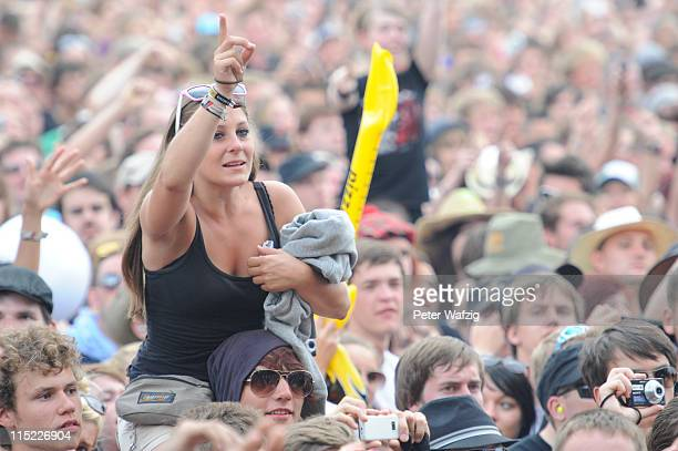 Fans celebtrate during the second day of Rock Am Ring on June 04 2011 in Nuerburg Germany