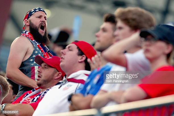 Fans chant as the United States takes on Ecuador during an International Friendly match at Toyota Stadium on May 25 2016 in Frisco Texas