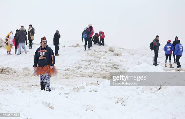 Fans check out the ice at the Chicago Polar Plunge 2015 at North Avenue Beach on March 1 2015 in Chicago Illinois