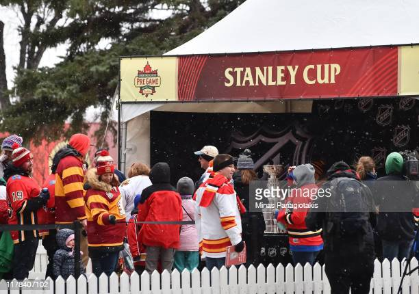 Fans check out the Stanley Cup in The PreGame in advance of the 2019 Tim Hortons NHL Heritage Classic as the Calgary Flames take on the Winnipeg Jets...
