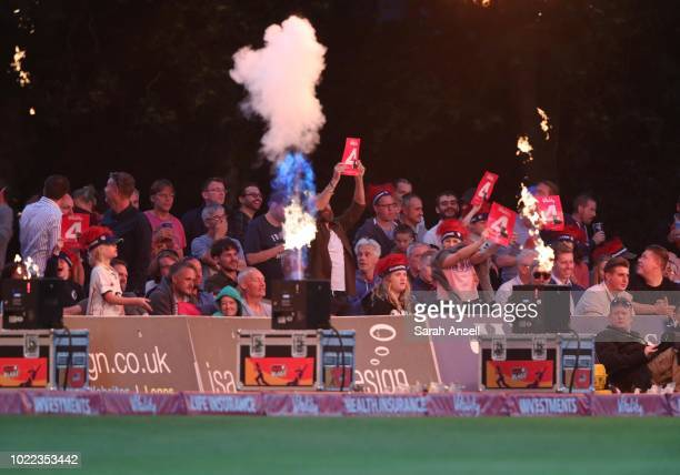 Fans cheer a boundary during the Vitality Blast QuarterFinal match between Kent Spitfires and Lancashire Lightning at The Spitfire Ground on August...