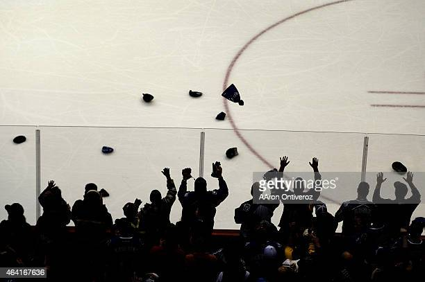 Fans cheer a hat trick by Nathan MacKinnon of the Colorado Avalanche against the Tampa Bay Lightning during the second period of action The Colorado...
