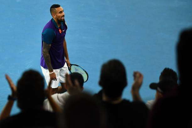 Fans cheer after Australia's Nick Kyrgios beat France's Ugo Humbert in their men's singles match on day three of the Australian Open tennis...