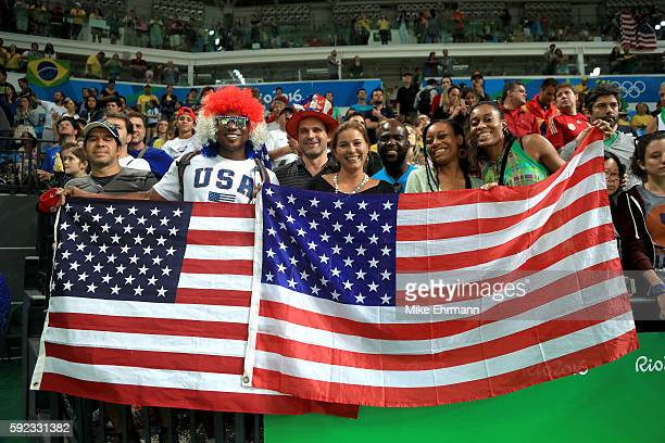 USA fans cheer after Team USA wins gold in the Women's Basketball competition on Day 15 of the Rio 2016 Olympic Games at Carioca Arena 1 on August 20...
