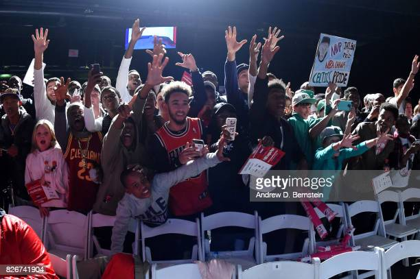 Fans cheer after the game between Team World and Team Africa in the 2017 Africa Game as part of the Basketball Without Borders Africa at the...