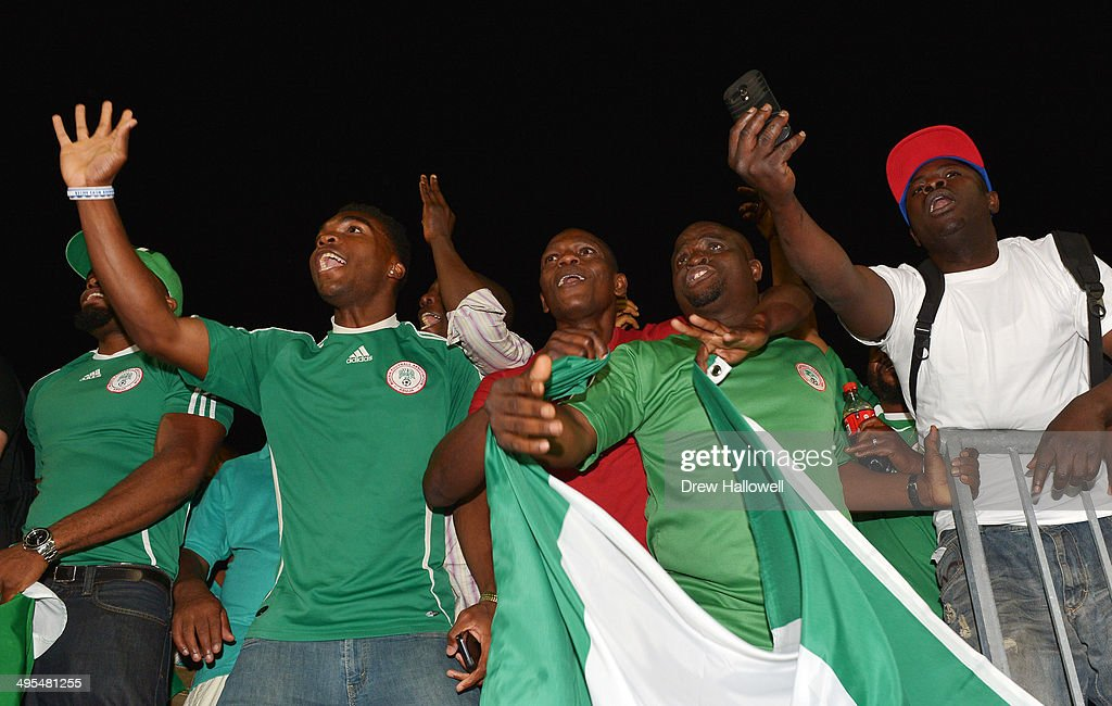 Fans cheer after the match between Greece and Nigeria during an international friendly match at PPL Park on June 3, 2014 in Chester, Pennsylvania. The match ended in a tie, 0-0.
