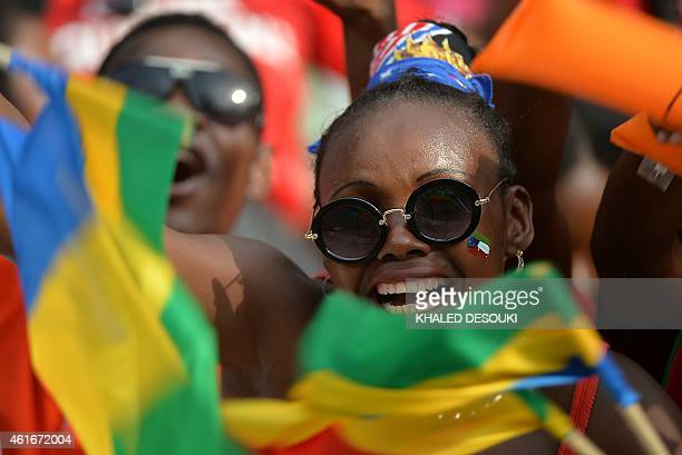 Fans cheer ahead of the 2015 African Cup of Nations group A football match between Equatorial Guinea and Congo at Bata Stadium in Bata on January 17...