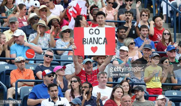 TORONTO ON AUGUST 10 Fans cheer as Bianca Andreescu from Toronto defeats Sofia Kenin to become the first Canadian woman in 50 years to reach the...