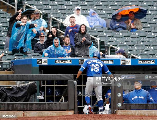 Fans cheer as Curtis Granderson of the Toronto Blue Jays comes back to the dugout in an interleague MLB baseball game against the New York Mets...