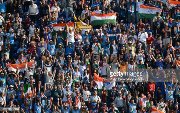 Fans cheer as India win the ICC Champions Trophy group match between India and South Africa by 26 runs at the Swalec Stadium Cardiff Wales 6th June...