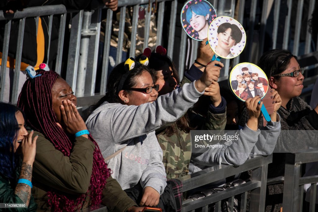 Fans cheer as K-Pop group BTS performs in Central Park, May 15, 2019