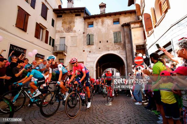 Fans cheer as riders take the start of stage twenty of the 102nd Giro d'Italia Tour of Italy cycle race 194kms from Feltre to Croce D'AuneMonte Avena...