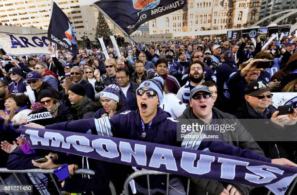 TORONTO ON NOVEMBER 28 Fans cheer as the Argos take to the stage The Toronto Argonauts football club celebrated their Grey Cup victory over the...