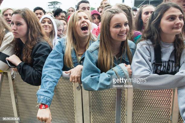 Fans cheer as the band Alvvays performs during the Boston Calling Music Festival at the Harvard Athletic Complex in the Allston neighborhood of...