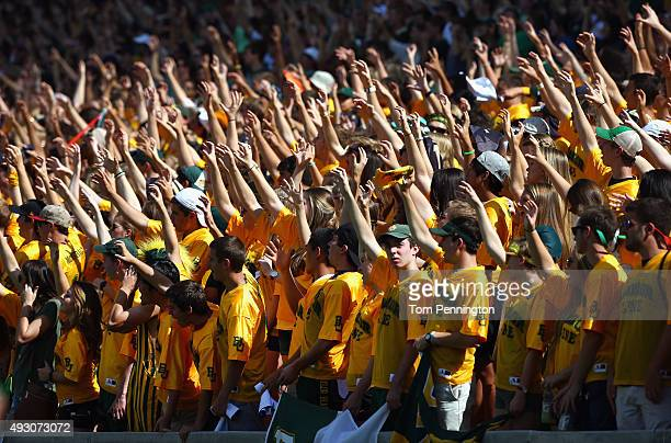 Fans cheer as the Baylor Bears take on the West Virginia Mountaineers in the first quarter at McLane Stadium on October 17 2015 in Waco Texas