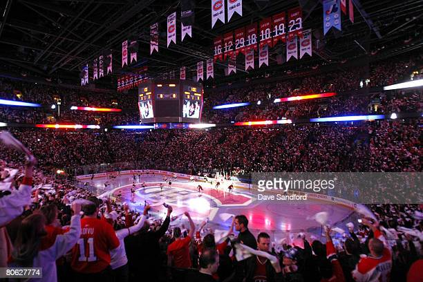Fans cheer as the Montreal Canadiens take to the ice to face the Boston Bruins during Game One of the 2008 NHL Eastern Conference Quarterfinals at...