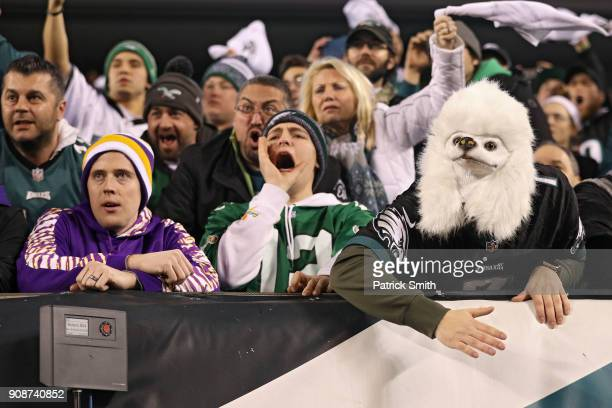 Fans cheer as the Philadelphia Eagles play in the NFC Championship game against the Minnesota Vikings during the second half at Lincoln Financial...