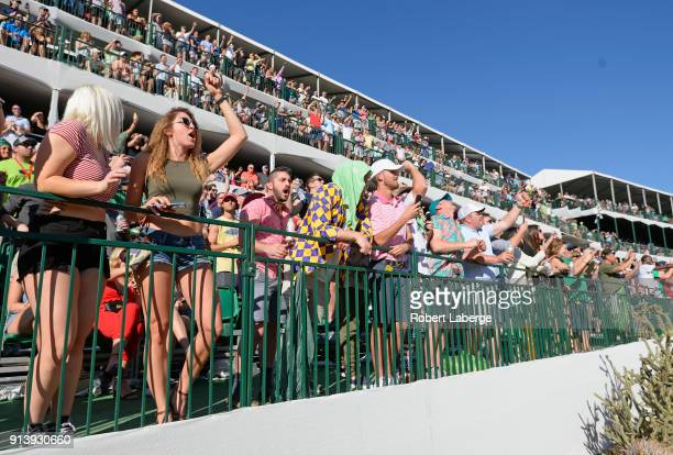 Fans cheer at the 16th hole during the third round of the Waste Management Phoenix Open at TPC Scottsdale on February 3 2018 in Scottsdale Arizona