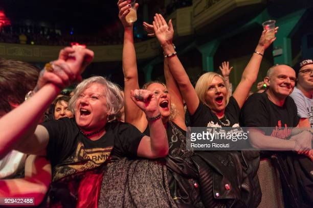 Fans cheer at the band during The Stranglers concert at O2 Academy Glasgow on March 8 2018 in Glasgow Scotland