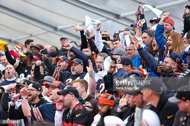 Fans cheer at the red carpet prior to the start of the 2016 NFL Draft on April 28 2016 in Chicago Illinois